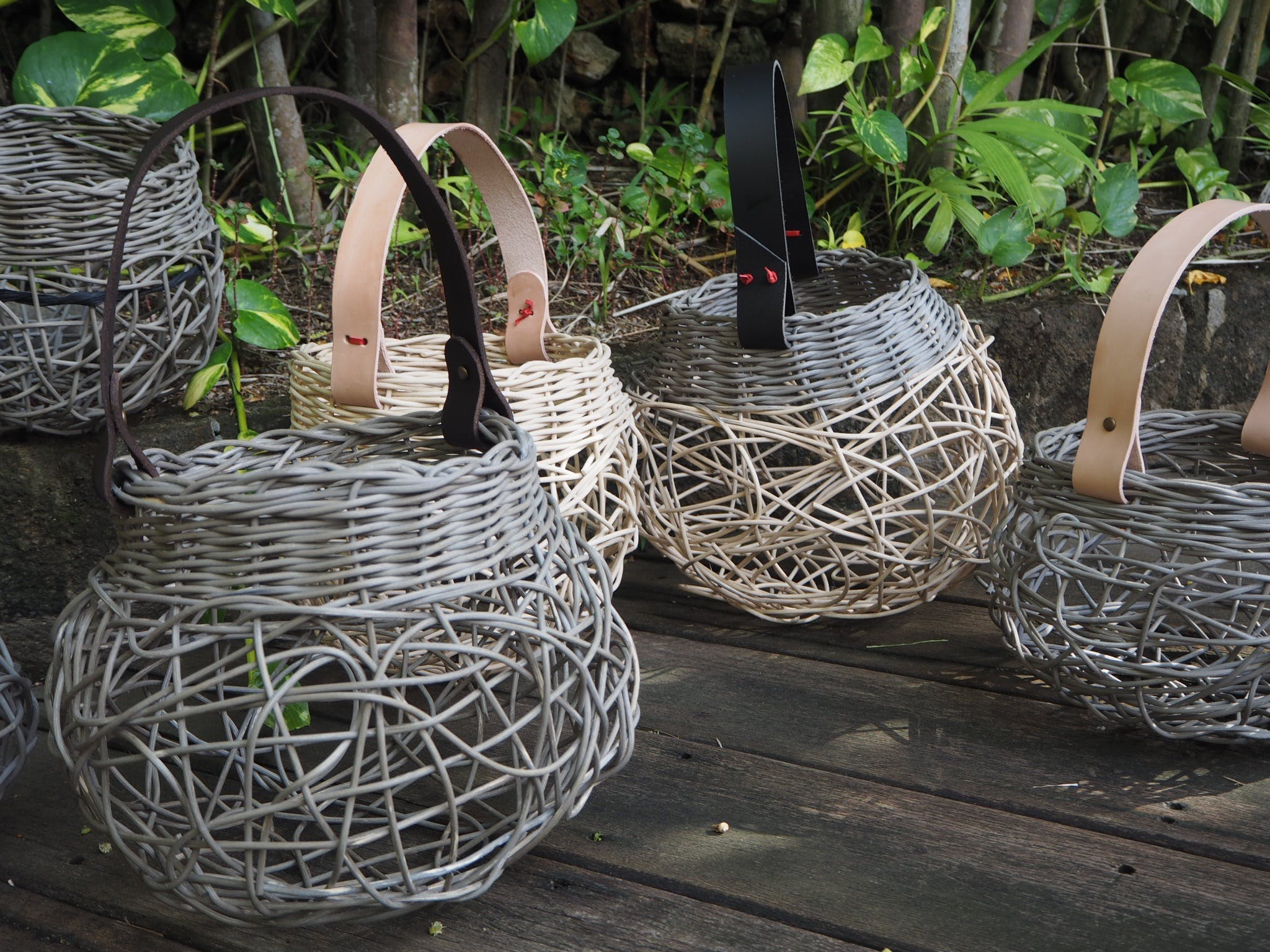 Weaving Woven Basket with Leather Handle - Accommodation BNB